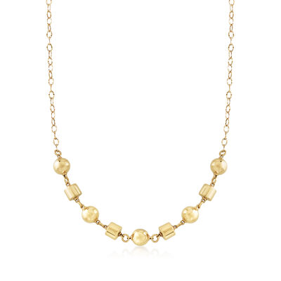 Italian 14kt Yellow Gold Cylinder and Bead Chain Necklace, , default