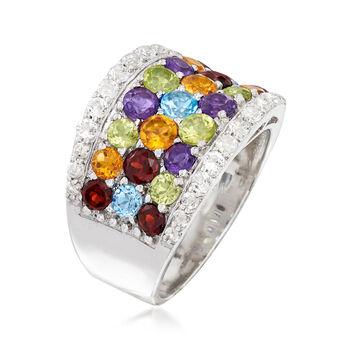 4.40 ct. t.w. Multi-Gemstone Rainbow Ring in Sterling Silver, , default