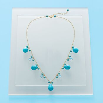 Magnesite and 4.80 ct. t.w. Blue Topaz Necklace with Turquoise in 14kt Yellow Gold