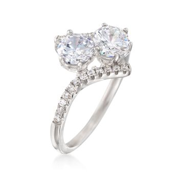 1.80 ct. t.w. CZ Two-Stone Ring in Sterling Silver, , default