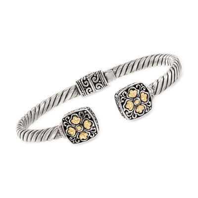 Sterling Silver with 14kt Yellow Gold Bali-Style Flower Cuff Bracelet