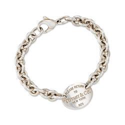 "C. 2000 Vintage Tiffany Jewelry ""Return to Tiffany"" Sterling Silver Oval Charm Link Bracelet. 7.25"", , default"