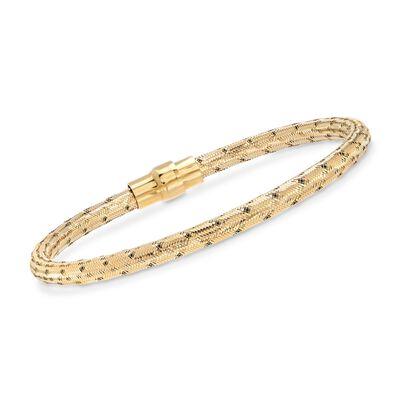 Italian 18kt Yellow Gold Over Sterling Silver Mesh Bracelet, , default