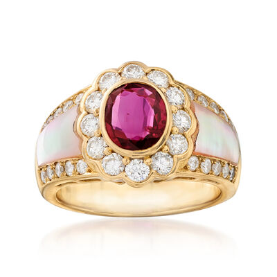 C. 1980 Vintage Mother-Of-Pearl, 1.14 Carat Ruby and 1.09 ct. t.w. Diamond Ring in 18kt Yellow Gold, , default