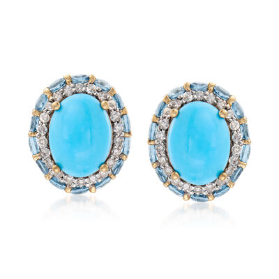 Stabilized Turquoise, 1.10 ct. t.w. Blue Topaz and .22 ct. t.w. Diamond Earrings in 14kt Yellow Gold, , default
