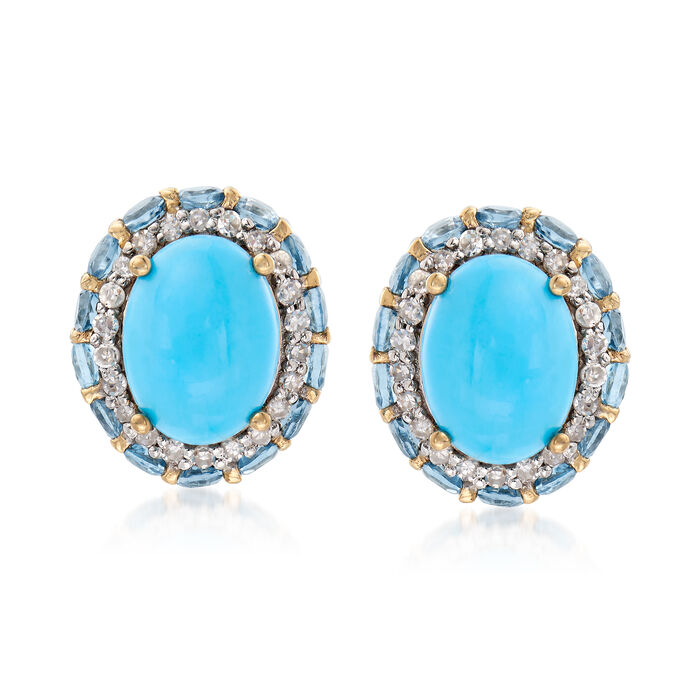 Turquoise, 1.10 ct. t.w. Blue Topaz and .22 ct. t.w. Diamond Earrings in 14kt Yellow Gold