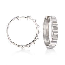 Sterling Silver Ridged Hoop Earrings, , default