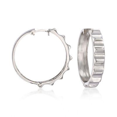 Sterling Silver Ridged Hoop Earrings, , default