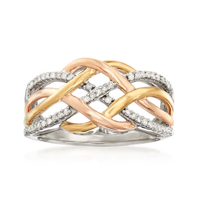 .20 ct. t.w. Diamond Crisscross Ring in Sterling Silver and 18kt Gold Over Sterling