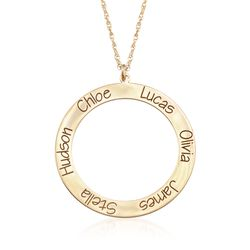 14kt Yellow Gold Personalized Open Circle Pendant Necklace, , default