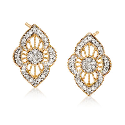 .50 ct. t.w. Diamond Cluster Earrings in 18kt Gold Over Sterling, , default