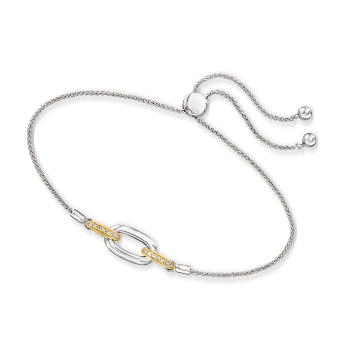 .10 ct. t.w. Diamond Link Bolo Bracelet in Sterling Silver and 14kt Yellow Gold