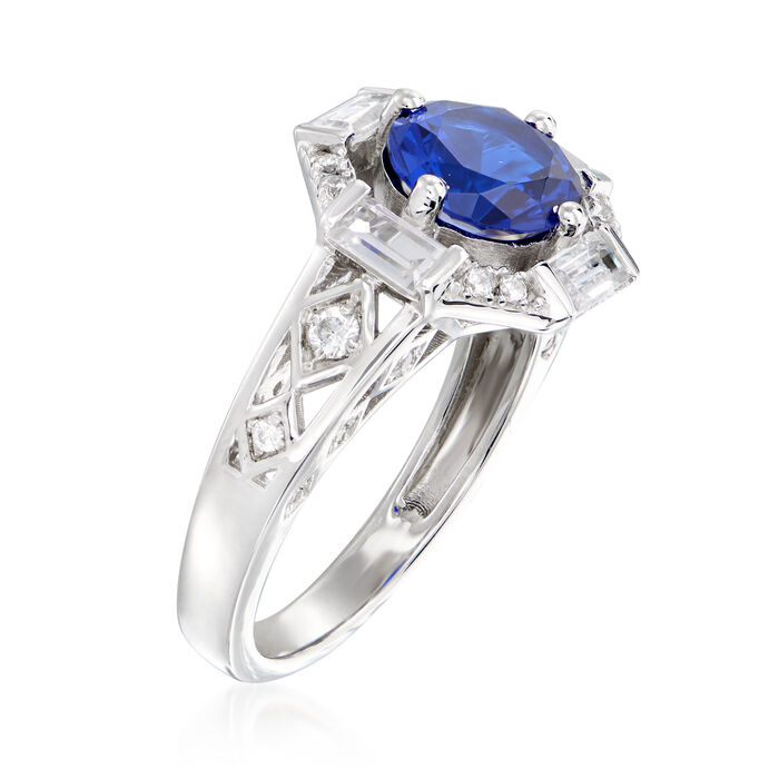 1.90 Carat Simulated Sapphire and .50 ct. t.w. CZ Ring in Sterling Silver