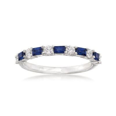 Gregg Ruth .50 ct. t.w. Baguette Sapphire and .33 ct. t.w. Diamond Ring in 18kt White Gold, , default