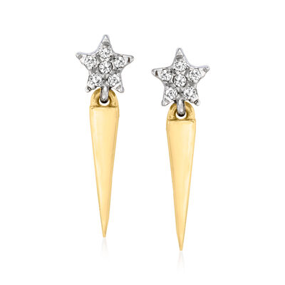 Diamond-Accented Star Icicle Earrings in Sterling Silver and 14kt Yellow Gold
