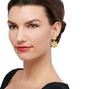 Andiamo Italian Double-Flower Drop Earrings in 14kt Yellow Gold , , default