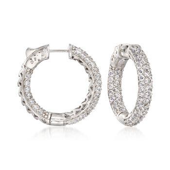 """4.00 ct. t.w. CZ Inside-Outside Medium Hoop Earrings in Sterling Silver. 1"""", , default"""