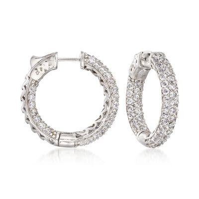 4.00 ct. t.w. CZ Inside-Outside Medium Hoop Earrings in Sterling Silver, , default