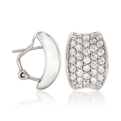 "Belle Etoile ""Lucia White"" 3.70 ct. t.w. CZ Hoop Earrings in Sterling Silver, , default"