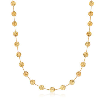 "14kt Yellow Gold Hammered Disc Station Necklace. 38"", , default"