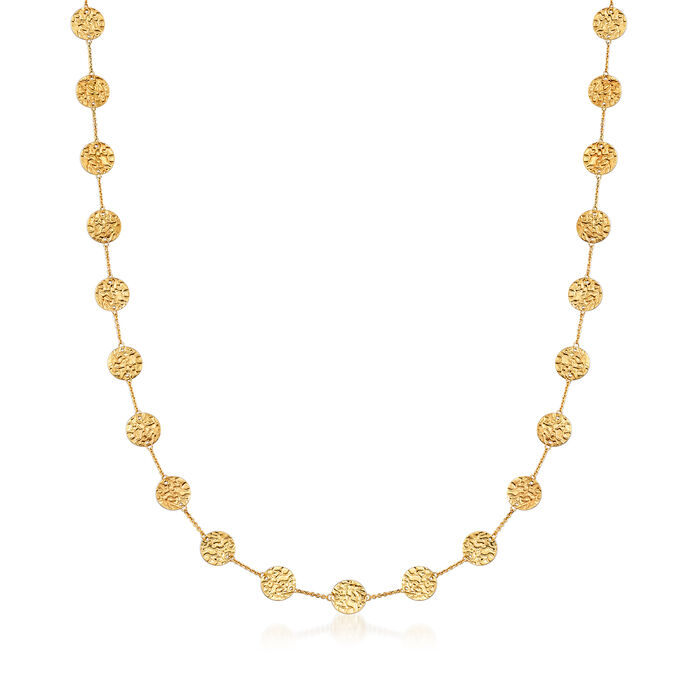 """14kt Yellow Gold Hammered Disc Station Necklace. 38"""", , default"""