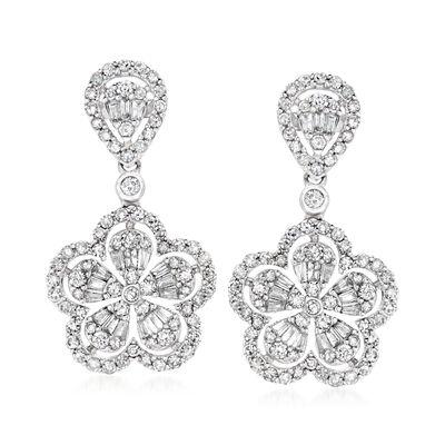 1.30 ct. t.w. Diamond Flower Drop Earrings in 14kt White Gold