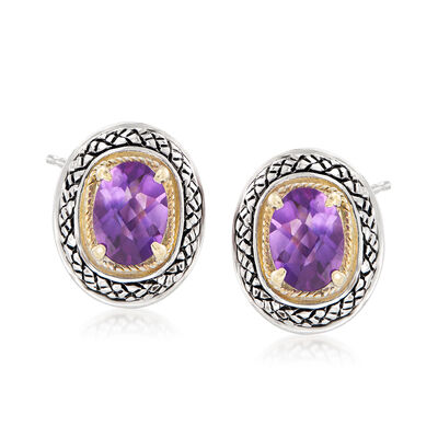 1.70 ct. t.w. Amethyst Earrings in Sterling Silver and 14kt Yellow Gold, , default