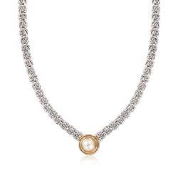10mm Cultured Button Pearl Byzantine Necklace in 14kt Yellow Gold and Sterling Silver, , default