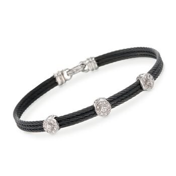 "ALOR ""Classique"" .14 ct. t.w. Diamond Station Black Cable Bracelet With 18kt White Gold. 7"", , default"