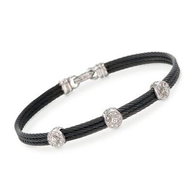 """ALOR """"Classique"""" .14 ct. t.w. Diamond Station Black Cable Bracelet With 18kt White Gold, , default"""