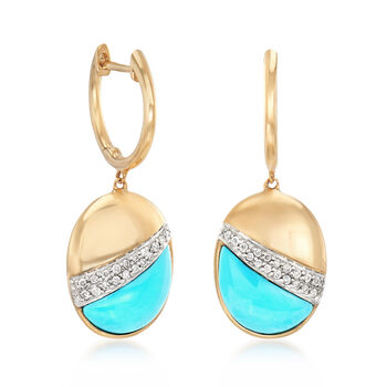 Stabilized Turquoise and .14 ct. t.w. Diamond Drop Earrings in 14kt Yellow Gold, , default