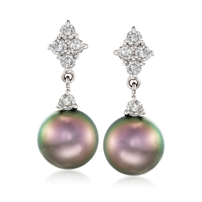 8-9mm Black Cultured Tahitian Pearl and .50 ct. t.w. Diamond Earrings in 14kt White Gold, , default