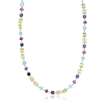 "36.75 ct. t.w. Multi-Shaped Multi-Stone Necklace in Sterling Silver. 18"", , default"