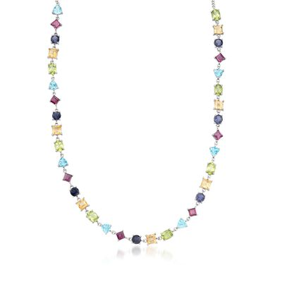 36.75 ct. t.w. Multi-Shaped Multi-Stone Necklace in Sterling Silver, , default