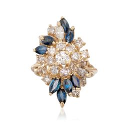 C. 2000 Vintage 1.75 ct. t.w. Sapphire and 1.55 ct. t.w. Diamond Ring in 14kt Yellow Gold. Size 5.5, , default