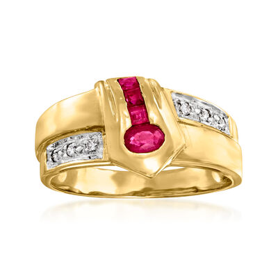 C. 1980 Vintage .40 ct. t.w. Ruby Ring with Diamond Accents in 18kt Yellow Gold