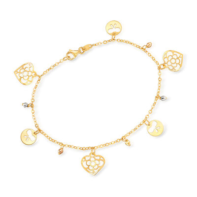 Italian 14kt Tri-Colored Gold Charm and Bead Bracelet, , default