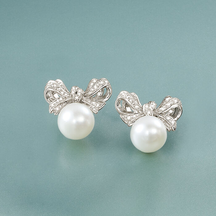 8.5-9 mm Cultured Pearl and .10 ct. t.w. Diamond Bow Earrings in Sterling Silver
