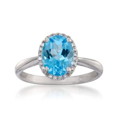 2.00 Carat Blue Topaz Ring with Diamonds in 14kt White Gold