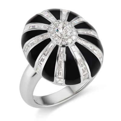 1.40 ct. t.w. Diamond and Black Enamel Ring in 18kt White Gold