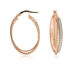 14kt Rose Gold Hoop Earrings With Silver Glitter, , default