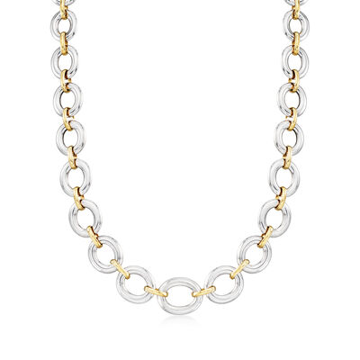 Italian Two-Tone Sterling Silver Oval-Link Necklace, , default