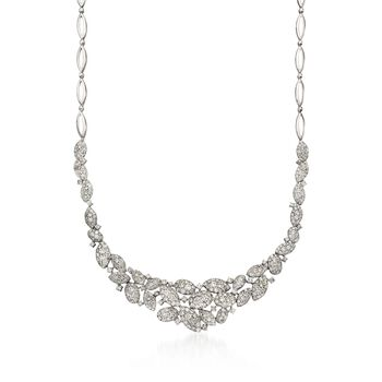 "11.75 ct. t.w. Diamond Cluster Necklace in 18kt White Gold. 17"", , default"
