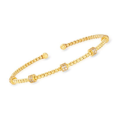 Italian .50 ct. t.w. CZ Bar Beaded Cuff Bracelet in 18kt Gold Over Sterling, , default