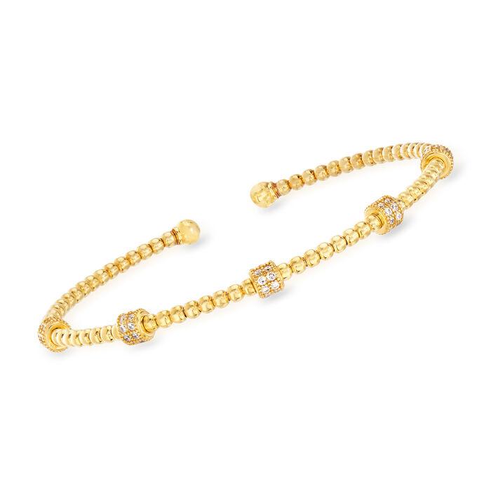 Italian .50 ct. t.w. CZ Bar Beaded Cuff Bracelet in 18kt Gold Over Sterling, , default