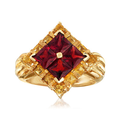 C. 1970 Vintage 1.80 ct. t.w. Garnet and .67 ct. t.w. Citrine Ring in 10kt Yellow Gold, , default