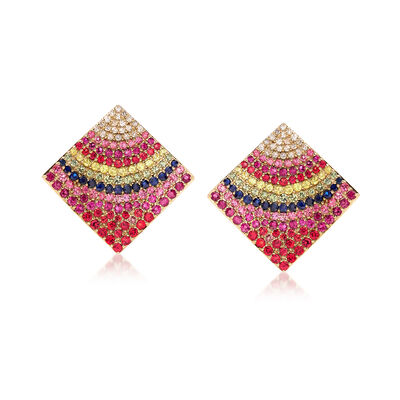 6.50 ct. t.w. Multicolored Sapphire and .47 ct. t.w. Diamond Earrings in 18kt Yellow Gold, , default