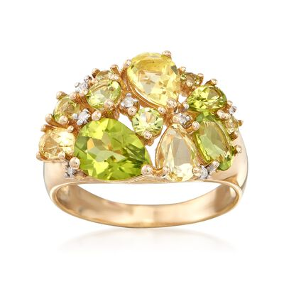 1.00 ct. t.w. Lemon and Green Quartz and 2.10 ct. t.w. Peridot Ring in 14kt Yellow Gold, , default
