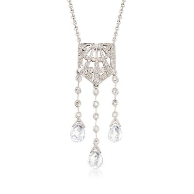 C. 2000 Vintage Rock Crystal and .25 ct. t.w. Diamond Lavalier Necklace in 18kt White Gold, , default