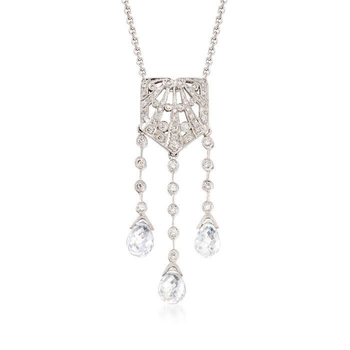 """C. 2000 Vintage Rock Crystal and .25 ct. t.w. Diamond Lavalier Necklace in 18kt White Gold. 16"""""""